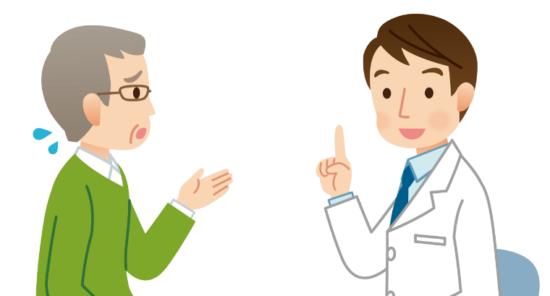 医師の話を何度も聞く、患者さん。説明に納得できるまで